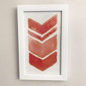Watercolor Chevron Art Print / Modern White Frame